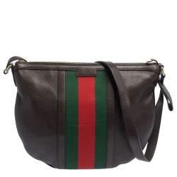 Gucci Brown Leather Medium Vintage Web Messenger Bag