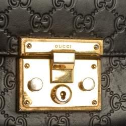 Gucci Black Guccissima Leather Small Padlock Shoulder Bag