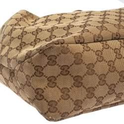 Gucci Beige/Ebony GG Canvas and Leather Medium Horsebit Hobo