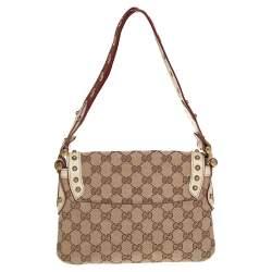 Gucci Beige/Cream GG Canvas Studded Pelham Runway Flap Bag