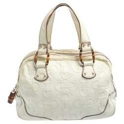 Gucci Cream Horsebit Embossed Leather Satchel Bag