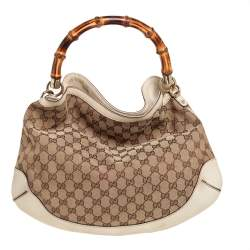 Gucci Beige/Off White GG Canvas Diana Bamboo Hobo