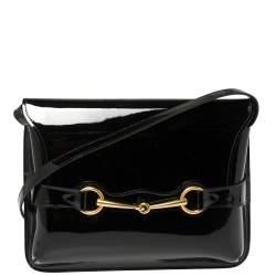 Gucci Black Patent Leather Large Bright Bit Shoulder Bag