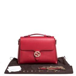 Gucci Red Leather Dollar Interlocking G Top Handle Bag