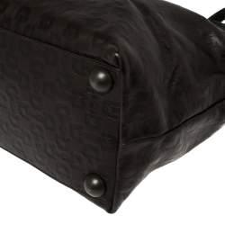 Gucci Dark Brown Horsebit Embossed Leather Medium Babouska Tote
