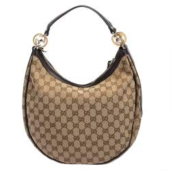 Gucci Beige/Dark Brown GG Canvas and Leather Twins Small Hobo