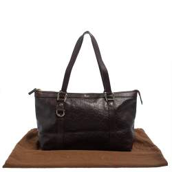 Gucci Dark Brown Guccissima Leather Medium Abbey Tote