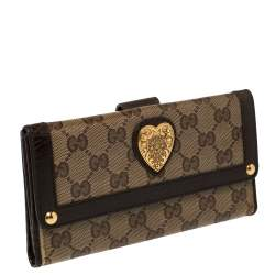 Gucci Beige/Brown GG Crystal Canvas and Leather Heart Bifold Continental Wallet