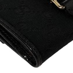 Gucci Black/Blue GG Canvas Jackie Compact Wallet