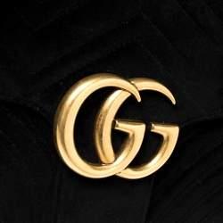 Gucci Black Matelasse Velvet Medium GG Marmont Shoulder Bag