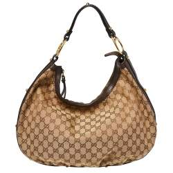Gucci Beige/Brown GG Canvas and Leather Medium Interlocking G Hobo