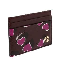 Gucci Burgundy Leather Heartbeat Print Card Holder
