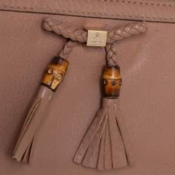 Gucci Beige Leather Bamboo Tassel Bow Zip Around Wallet