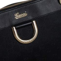 Gucci Black GG Canvas and Leather D Ring Tote
