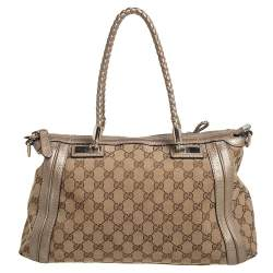 Gucci Beige/Gold GG Canvas and Leather Bell Tote