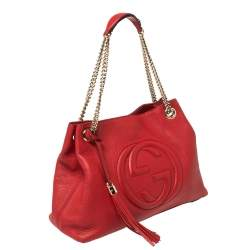 Gucci Red Leather Medium Soho Tote