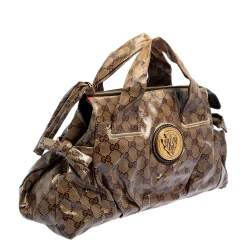 Gucci Brown GG Crystal Coated Canvas Small Hysteria Tote