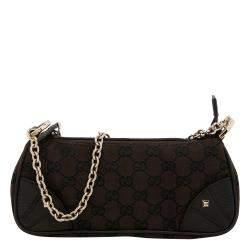 Gucci Dark Brown GG Supreme Canvas Nailhead Pochette Bag