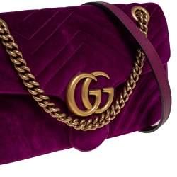 Gucci Magenta Matelassé Velvet Small GG Marmont Shoulder Bag