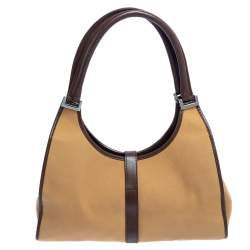 Gucci Beige/Brown Canvas And Leather Web Bardot Hobo