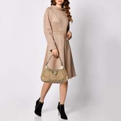 Gucci Beige/Brown GG Canvas And Leather D Ring Hobo
