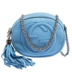 Gucci Sky Blue Nubuck Leather Mini Soho Disco Chain Crossbody Bag