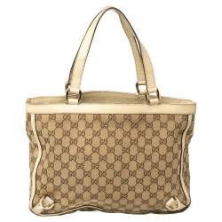 Gucci Beige/White GG Canvas and Leather Abbey Tote