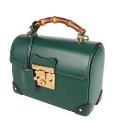 Gucci Green Leather Padlock Bamboo Small Shoulder Bag