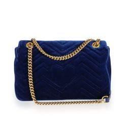 Gucci Royal Blue Matelasse Velvet GG Marmont Medium Shoulder Bag