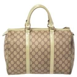 Gucci Green/Beige GG Supreme Canvas And Leather Medium Joy Boston Bag
