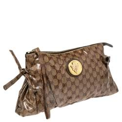 Gucci Brown GG Crystal Coated Canvas Large Hysteria Clutch