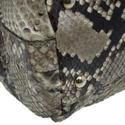 Gucci Beige Python Pop Bamboo Top Handle Bag
