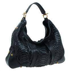 Gucci Black Python and Leather Large Jockey Hobo