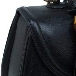 Gucci Black Leather Large New Bamboo Tassel Top Handle bag