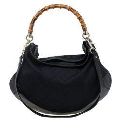 Gucci Black GG Canvas/Leather Large Peggy Hobo