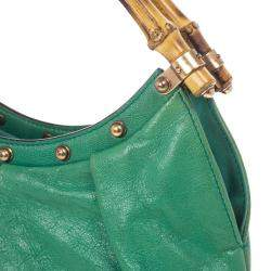 Gucci Leather Studded Bamboo Handle Hobo