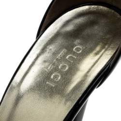 Gucci Black Patent Leather Ankle Strap Peep Toe Platform Sandals Size 37