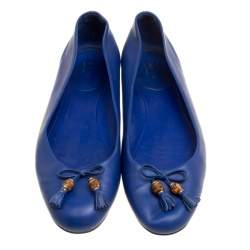 Gucci Blue Leather Bamboo Bow Ballet Flats Size 38.5