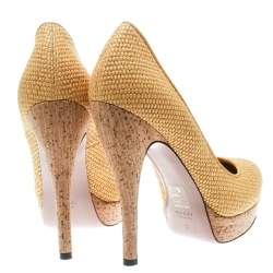 Gucci Yellow Woven Jute Bumblebee Cork Platform Pumps Size 37