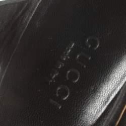 Gucci Black Suede Knot Detail Peep Toe Platform Sandals Size 36
