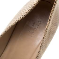 Gucci Beige Snakeskin Leather Bamboo Heel Pointed Toe Pumps Size 40
