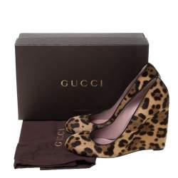 Gucci Two Tone Leopard Print Pony Hair Wedge Pumps Size 40