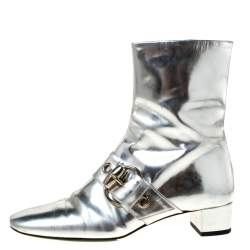 Gucci Metallic Silver Leather Buckle Detail Ankle Boots Size 37