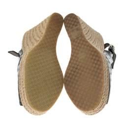 Gucci Metallic Grey GG Patent Leather Slingback Wedges Platform Sandals Size 36