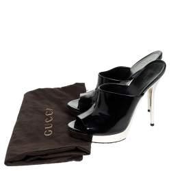 Gucci Black Patent Leather Platform Open Toe Mules Size 37.5