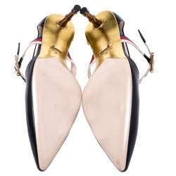 Gucci Black Leather Sylvie Web Strap Bamboo Heel Unia Pumps Size 38