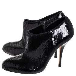Gucci Black Sequins Zip Ankle Booties Size 36
