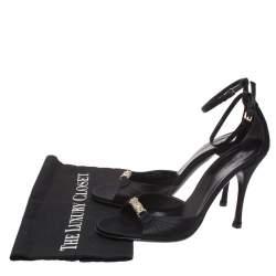 Gucci Black Satin Embellished Ankle Strap Sandals Size 39