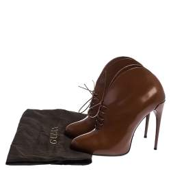 Gucci Brown Leather Kim Lace Up Ankle Booties Size 38