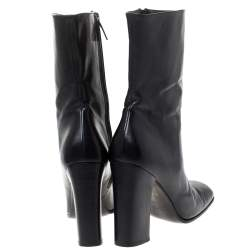Gucci Black Leather Zip Ankle Boots Size 38